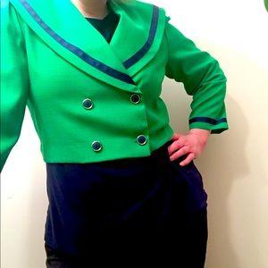 Vintage green & blue crop double breasted blazer